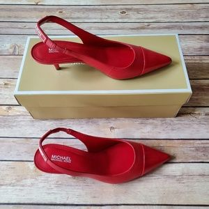 New Michael Kors Demi Leather Pump Heel Red Size 5